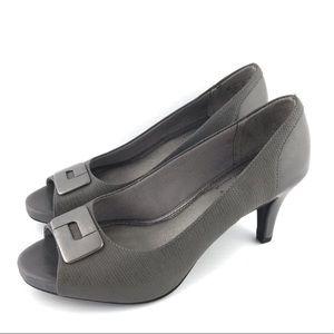 Life Stride Women Peep Toed Heel Gray 9.5M